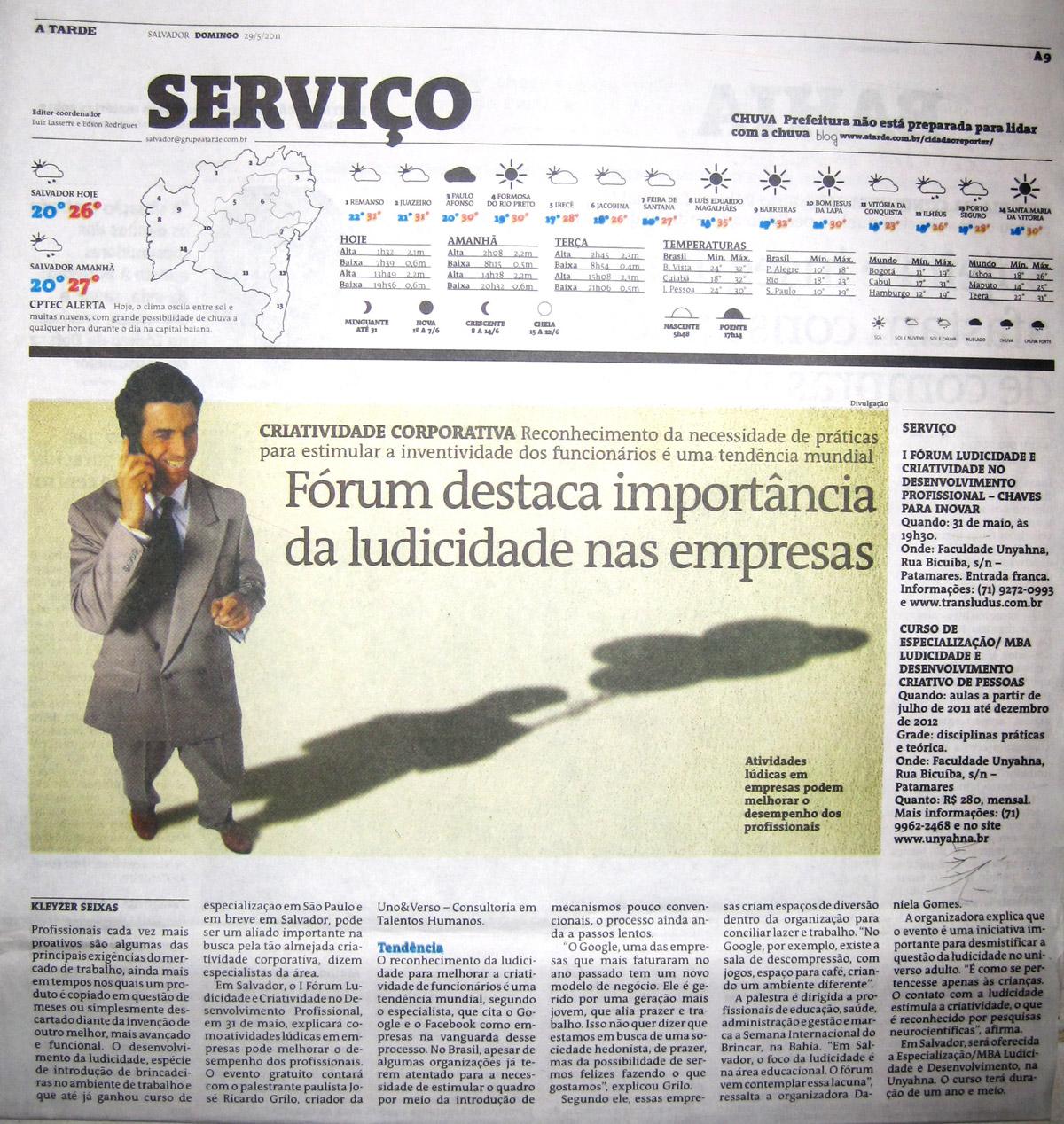 29-05-2011. Jornal A Tarde