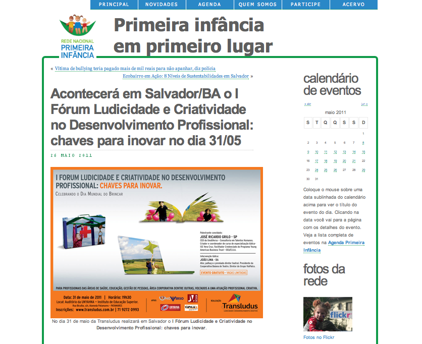 Rede Nacional Primeira Infancia. 31-05-2011